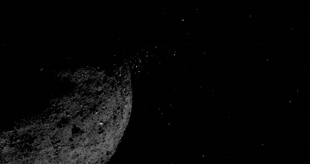 This view of asteroid Bennu ejecting particles from its surface on January 19 was created by combining two images taken on board NASA's OSIRIS-REx spacecraft. Other image processing techniques were also applied, such as cropping and adjusting the brightness and contrast of each image. Credits: NASA/Goddard/University of Arizona/Lockheed Martin