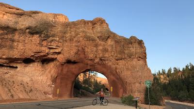 Jennifer Kumar, Author, cycling on byway 12 near Bryce Canyon National Park, Utah
