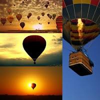 balões coloridos no céu, balões com pôr de Sol ao fundo, sombra de balões