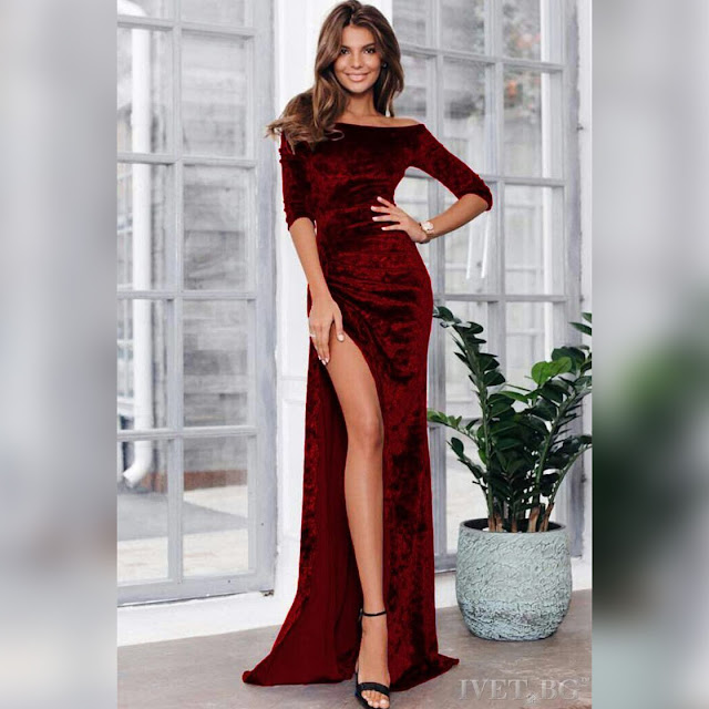 Maxi μπορντό φόρεμα CATHY, με σκίσιμο
