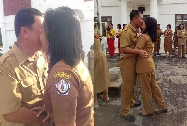 WoW !! Foto PNS Ciuman Di Nias Dari Bibir Sampai Kening