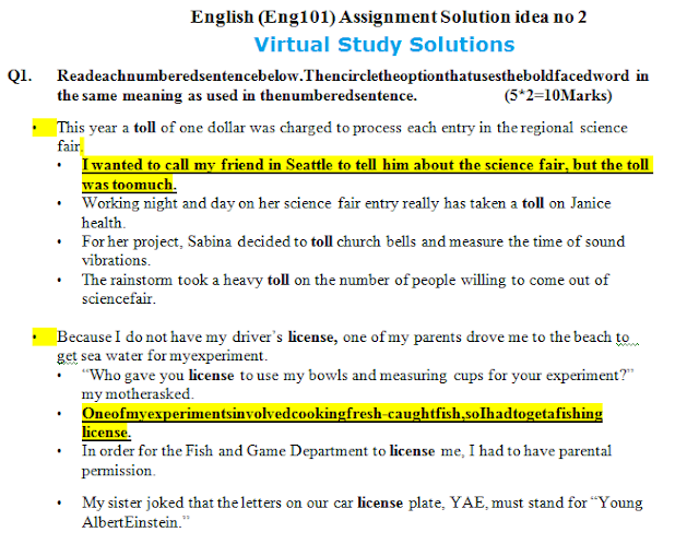 ENG101 Assignment Solution idea 2 Sample Preview: