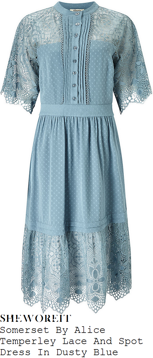 holly-willoughby-somerset-by-alice-temperley-dusty-blue-sheer-floral-lace-and-polka-dot-print-half-sleeve-button-up-pleat-detail-midi-dress