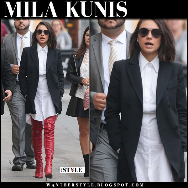 Mila Kunis in black jacket, white dress and red thigh boots fendi rockoko fall trend fashion october 30 2017