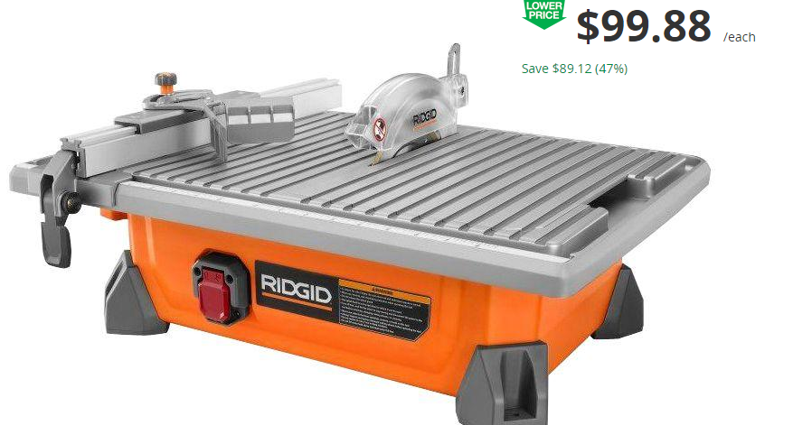 coupons and freebies ridgid 7 job site wet tile saw reg 179 free store pickup at. Black Bedroom Furniture Sets. Home Design Ideas