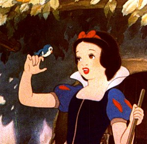 Snow White holding bird Snow White and the Seven Dwarfs 1937 animatedfilmreviews.filminspector.com