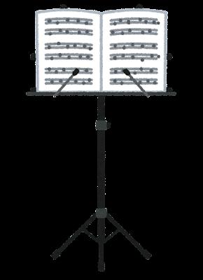 譜面台のイラスト(楽譜あり)