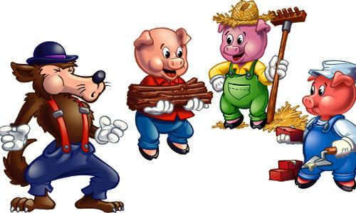 Releitura dos três porquinhos, conto de Joseph Jacobs, conto infantil, conto os três porquinhos