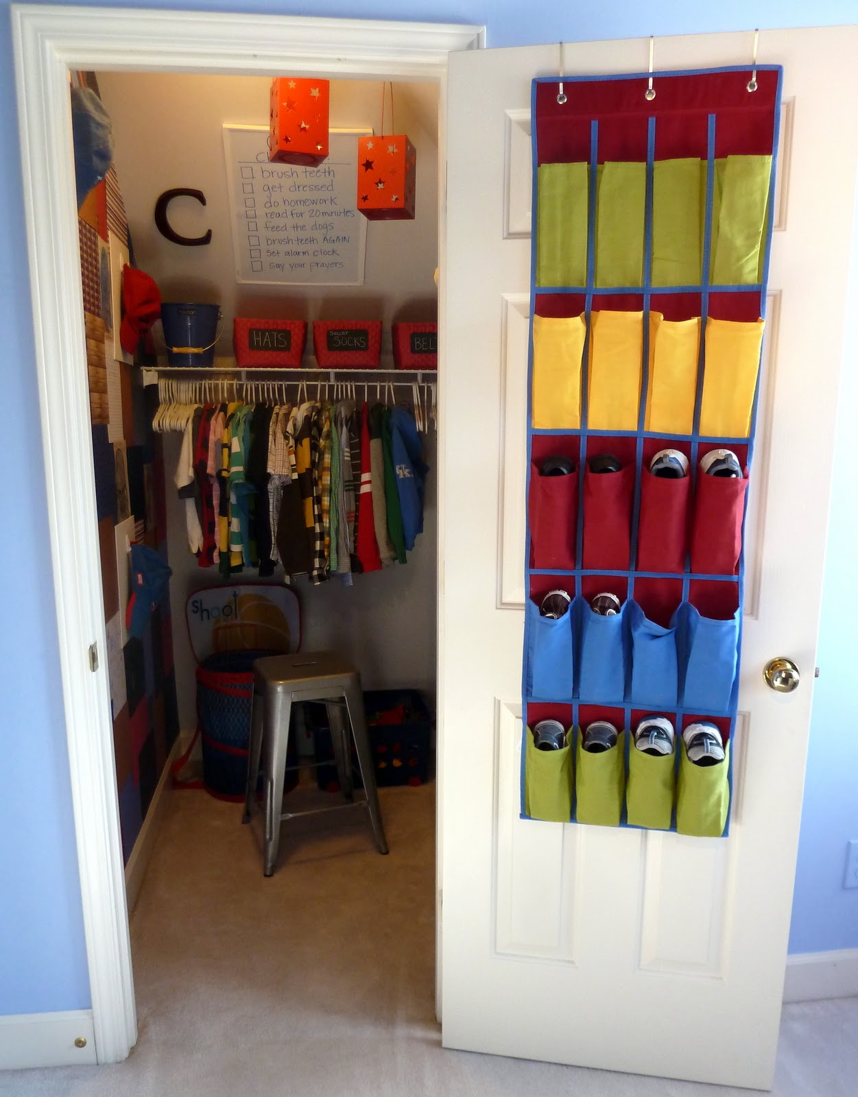 Attractive Closet Ideas For Kids. The Blue Wall Color Will Be Next Change. We\