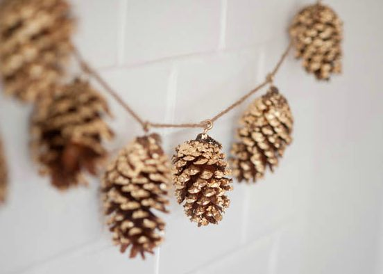 DIY Gold Lead Pine Cone Garland