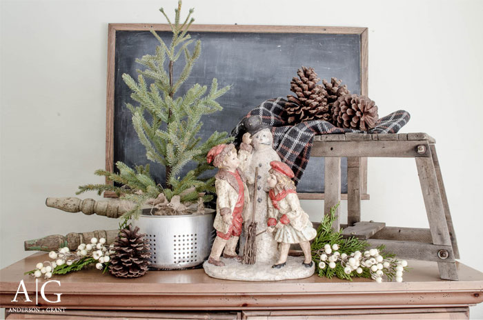 A simple farmhouse display for winter.  |  www.andersonandgrant.com