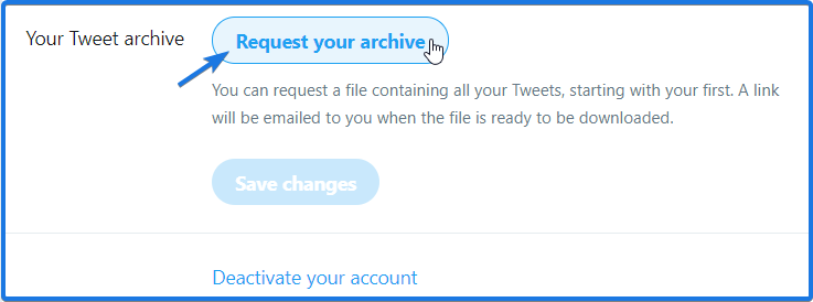 Twitter Request your archive