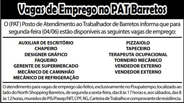 VAGAS DE EMPREGO DO PAT BARRETOS-SP PARA 04/06/2018 (SEGUNDA-FEIRA)