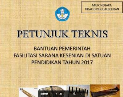 Panduan Juknis Bantuan Fasilitas Sarana Kesenian Sekolah SD, SMP, SMA, SMK Format Baru.