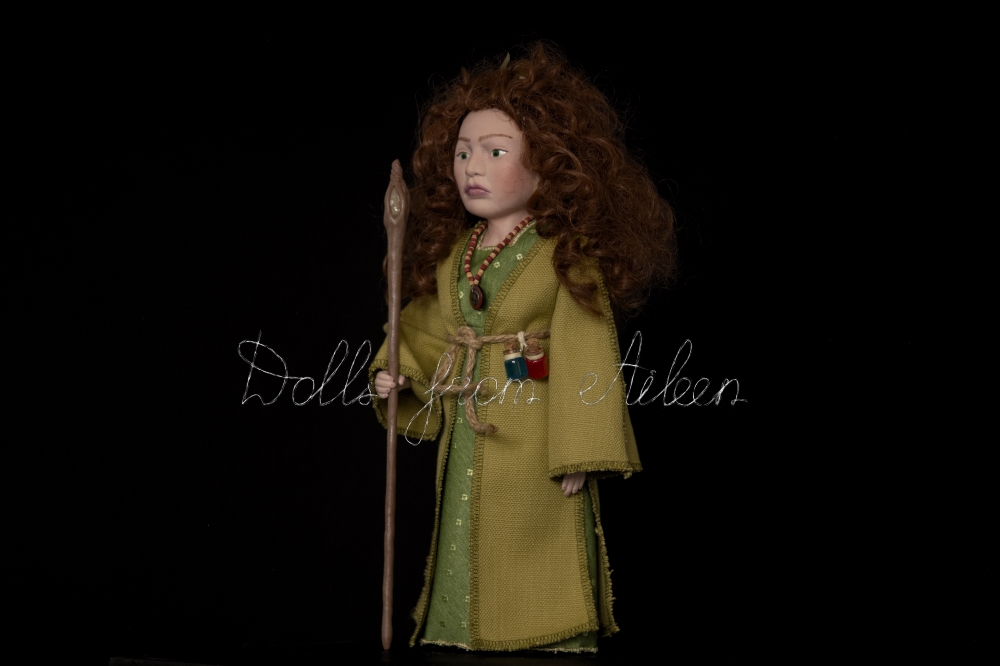 OOAK Celtic witch doll, view from the side