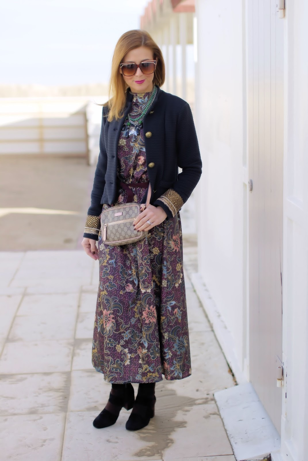How To Wear A Floral Maxi Dress In Winter Fashion And