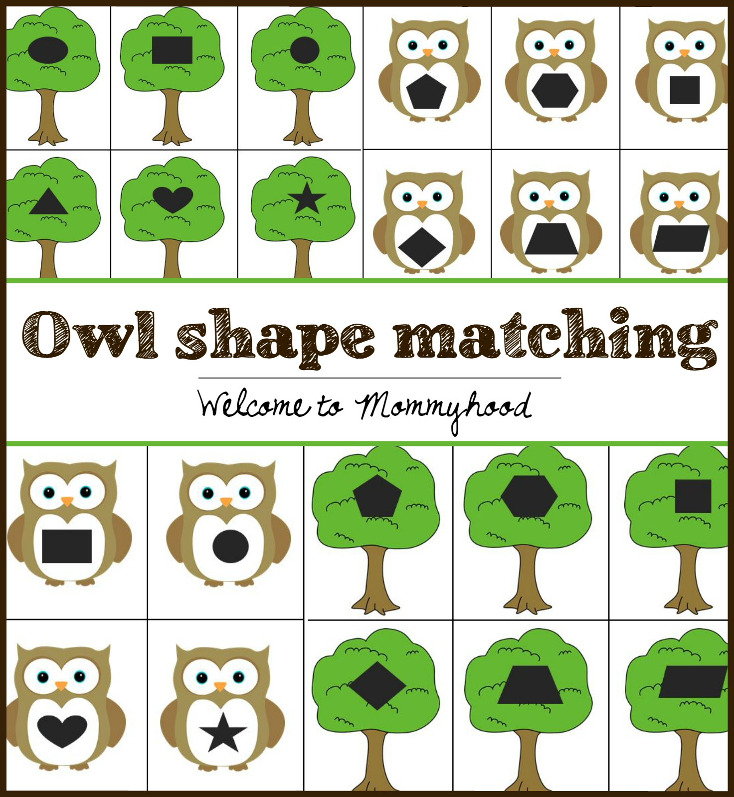 Welcome To Mommyhood Owl Shape Matching