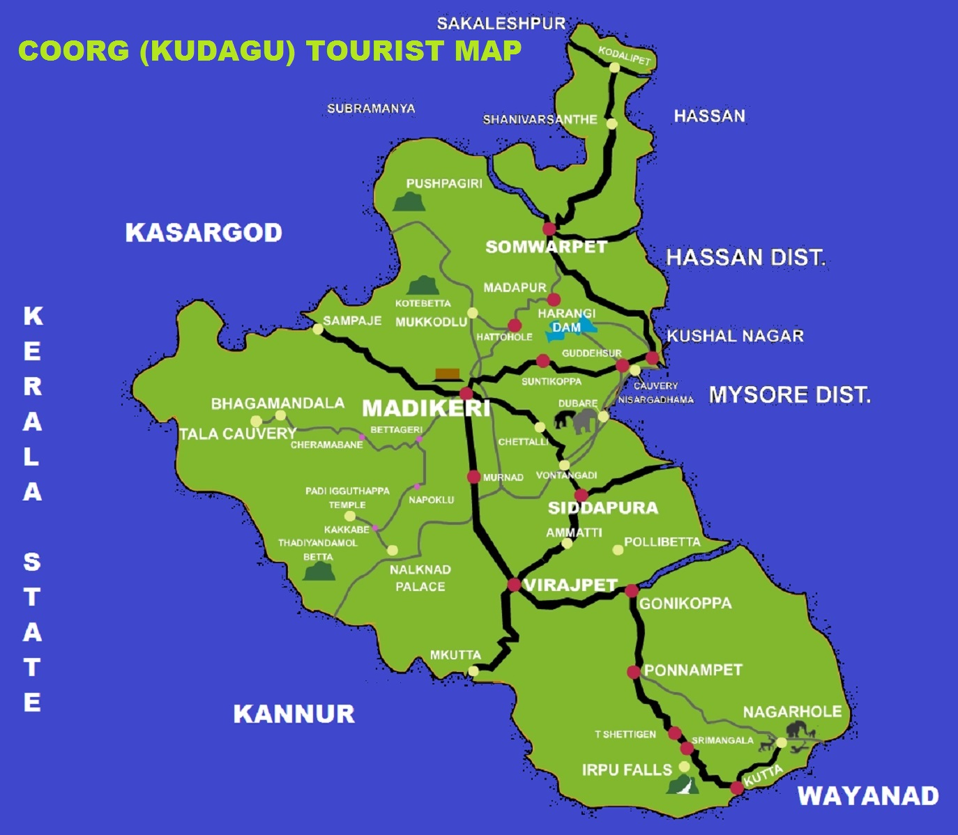 tourist map coorg kodagu madikeri attractions india south tourism touris