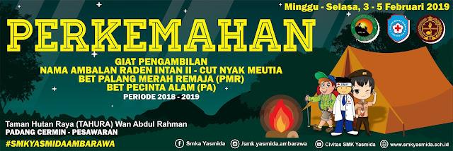 Desain Banner Perkemahan Pramuka PMR Pecinta Alam SMK Yasmida Ambarawa