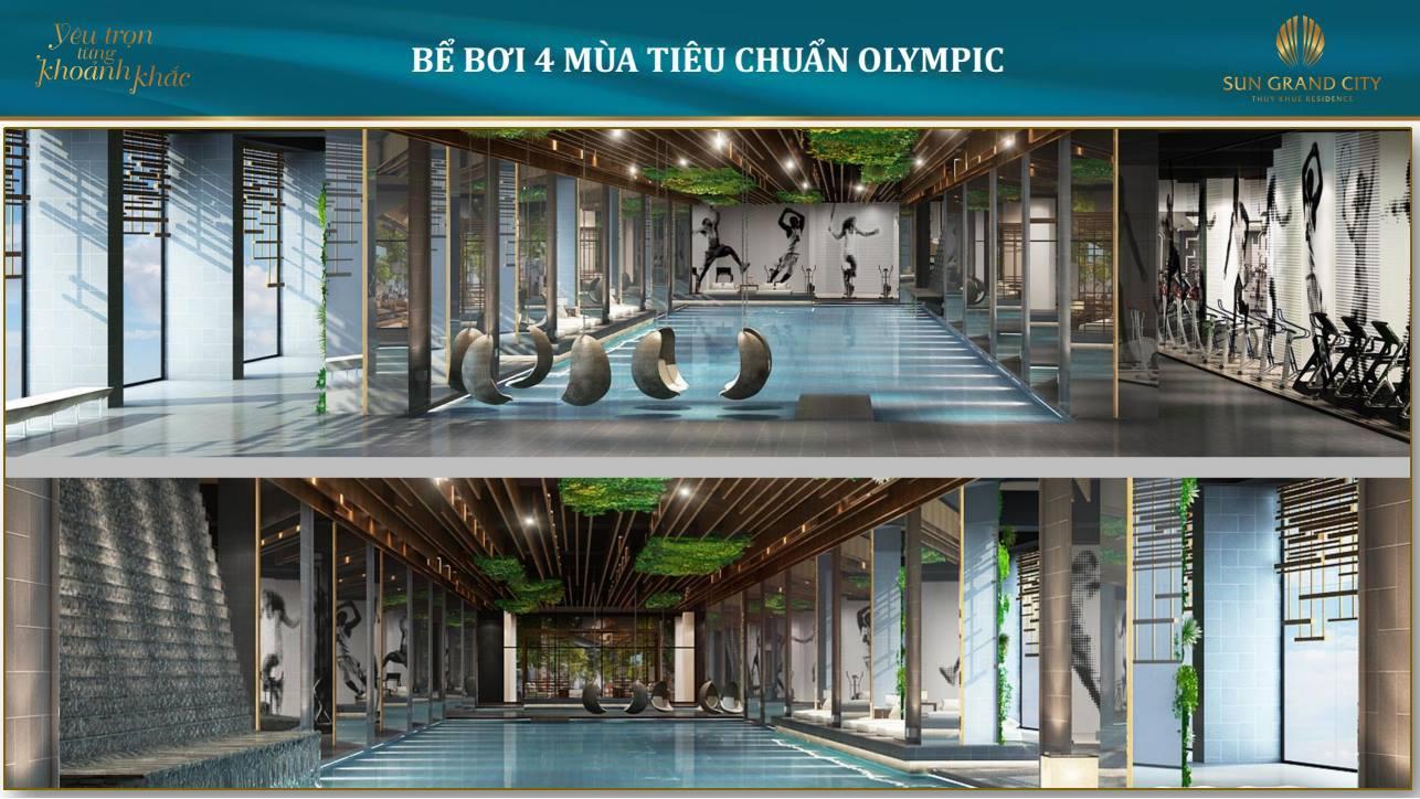 Bể bơi 4 mùa chuẩn Olympic của Sun Grand City Láng Hạ