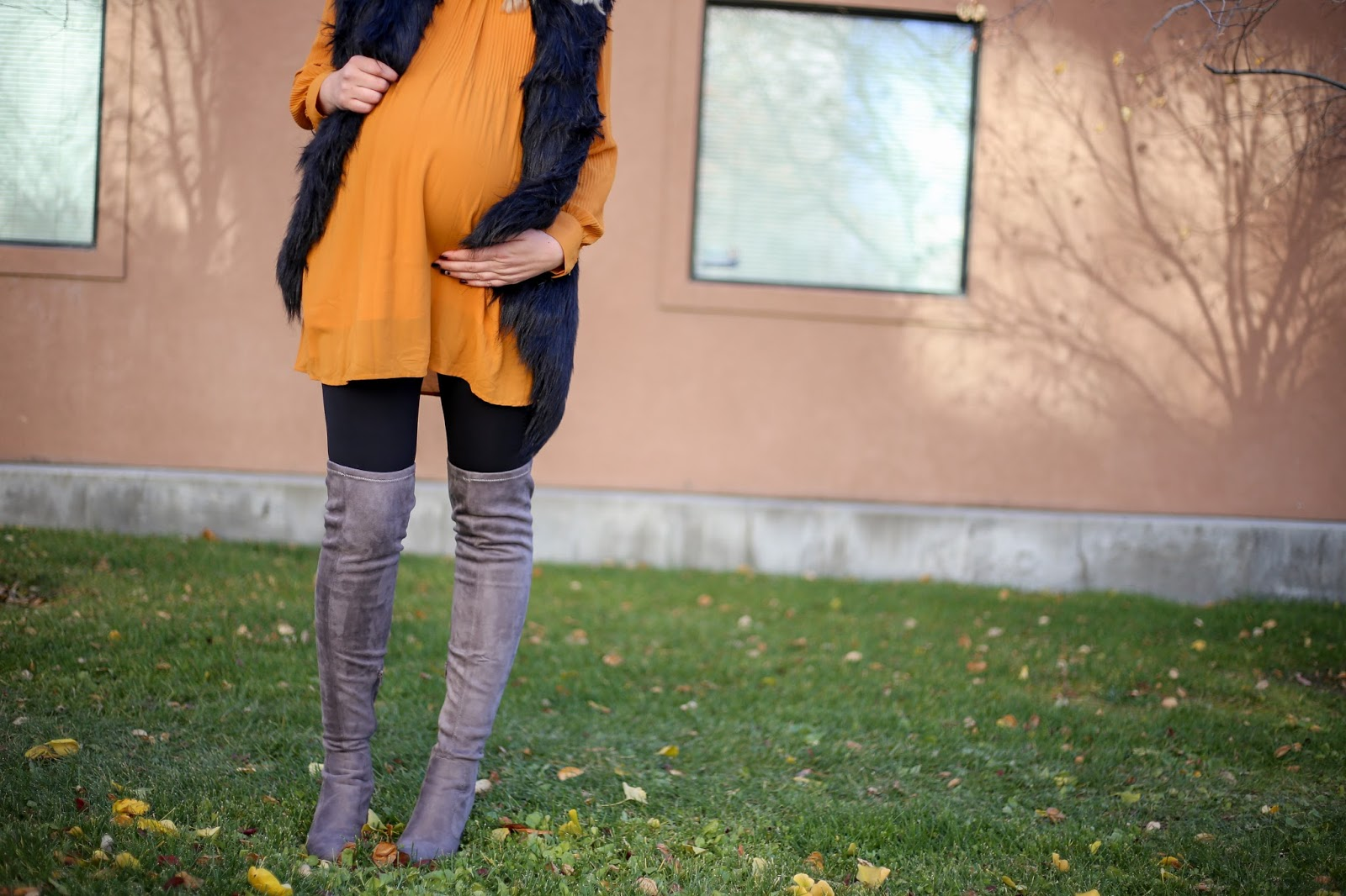 Thigh High Boots, Tunic, Fur Vest, Utah Fashion Blogger