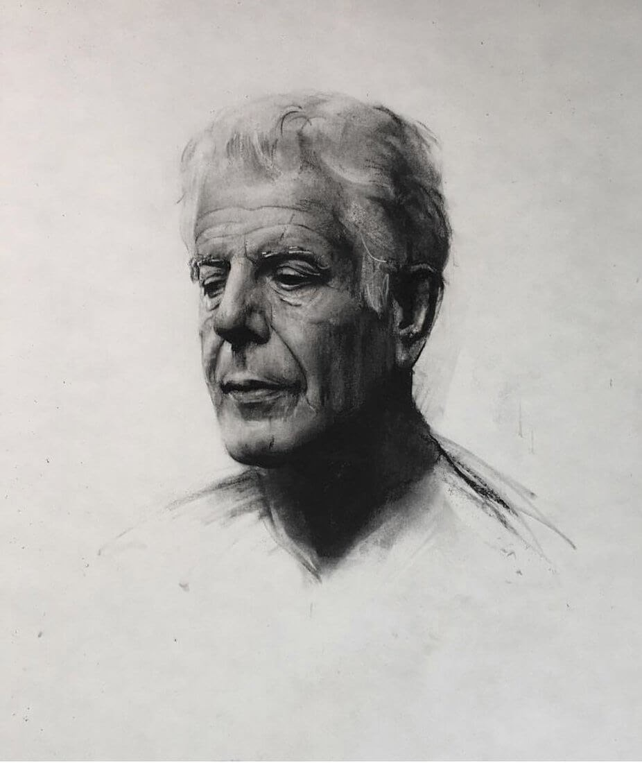 03-Anthony-Bourdain-Rick-Young-Celebrity-and-More-Charcoal-Portraits-www-designstack-co