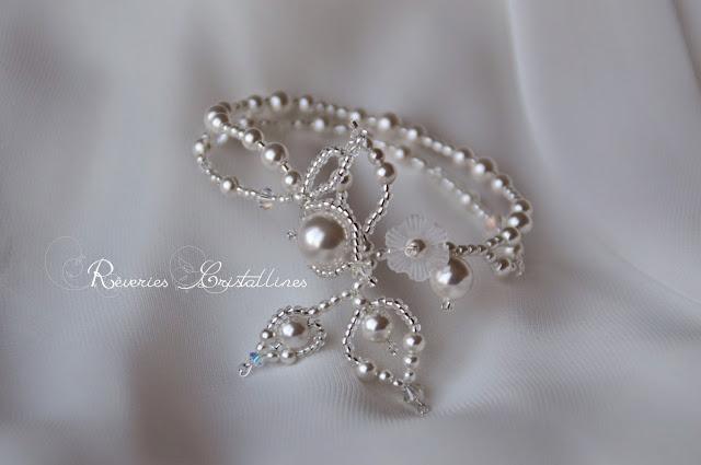 bracelet blanc mariée glamour en perles