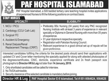 PAF Hospital Islamabad Latest Jobs 2019