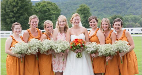 Orange Gown Wedding: Independent Designer: Real Wedding: Orange Bridesmaid Dresses