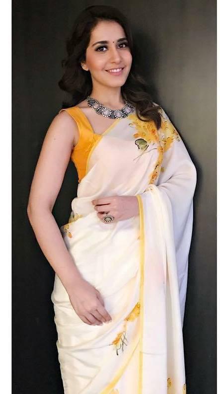 Rashi Khanna In White Saree At Malayalam Film Audio Launch ❤