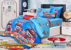 Sprei Custom Katun Jepang Anak Kartun Karakter Superwings Biru