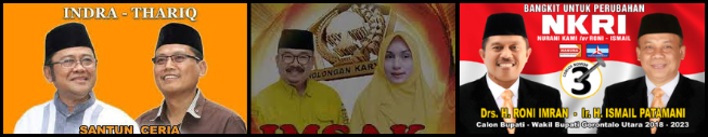 Tiga pasang calon Bupati dan wakil Bupati Kabupaten Gorontalo Utara (Gorut) 2018