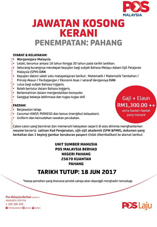 Jawatan Kosong di Pos Malaysia Berhad - 18 June 2017 ...