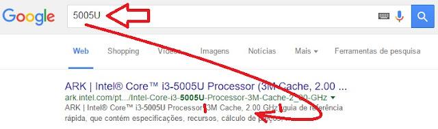 descobrindo a velocidade do modelo do processador do notebook