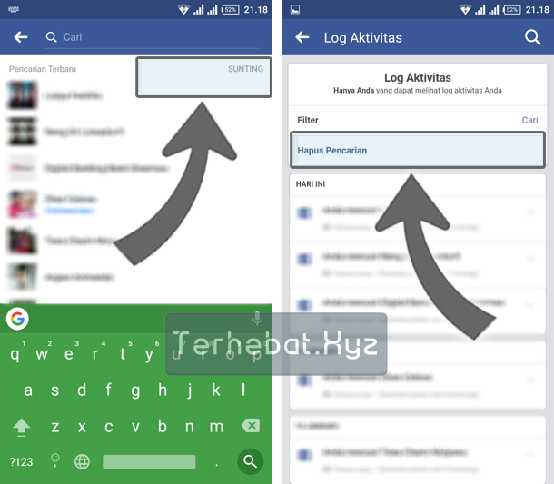 Menghapus History Pencarian Facebook Android