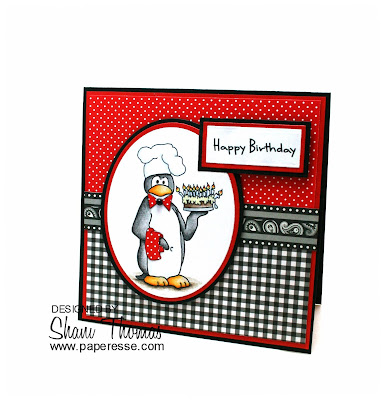 Penguin chef birthday card, featuring Scribbles Brr Bday Chef digital stamp, by Paperesse.