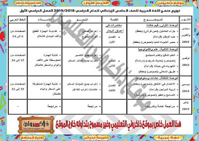 توزيع منهج اللغة العربية للصف الخامس الابتدائي للترم الاول 2018 - 2019