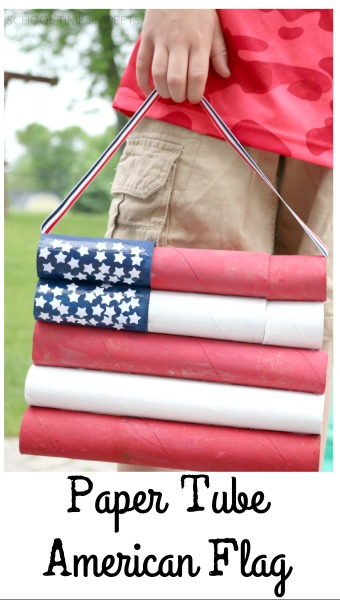 Use your stash of paper tubes to create a festive American Flag perfect for the 4th of July.  Grab the kiddos and and have fun painting this collaborative holiday decoration.
