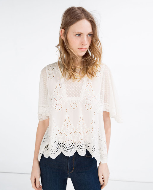 zara white embroidered top,