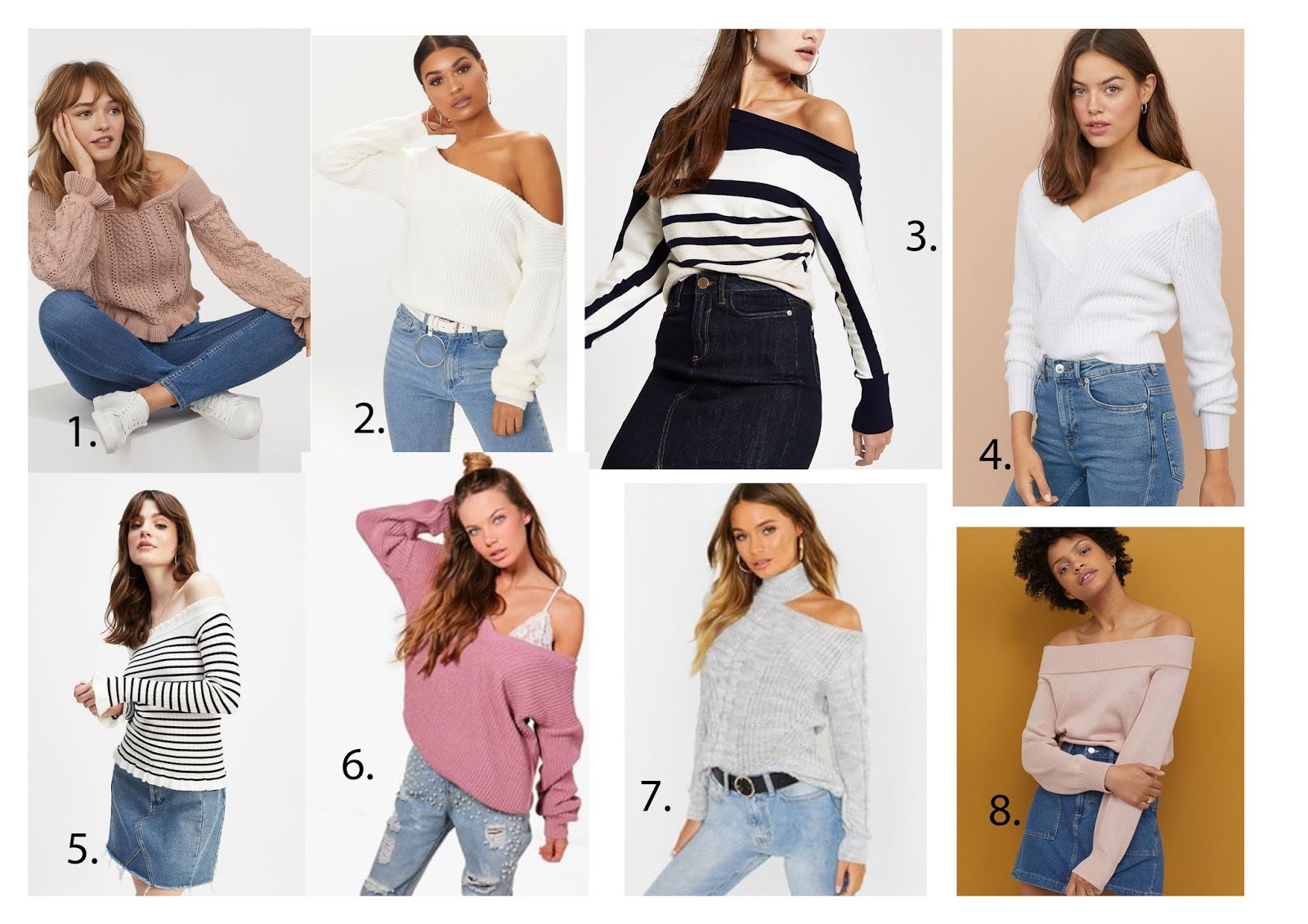 Off the shoulder jumpers on the high street