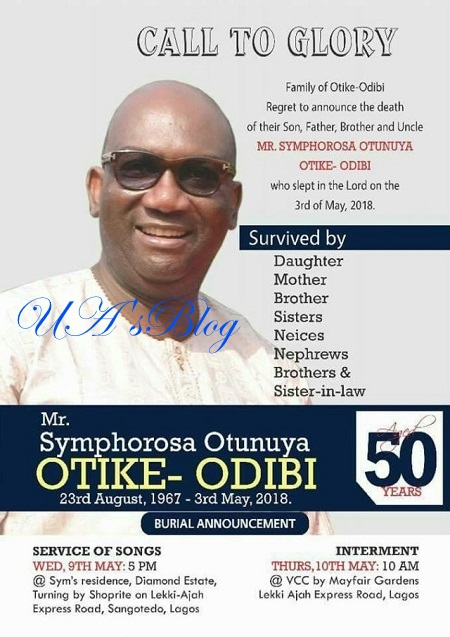 Burial Poster Of Nigerian Man Allegedly Stabbed To Death By His Wife In Lagos