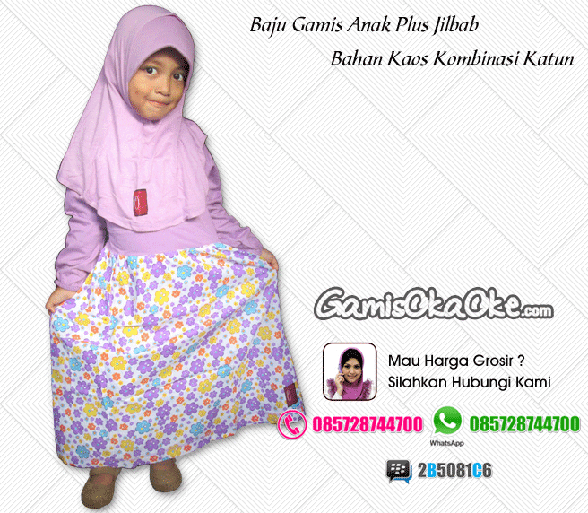 Baju gamis anak perempuan oka oke solo harga murah bahan kaos katu dilengkapi dengan jilbab
