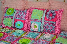 Girl Pillow Shams in Turquoise, Hot Pink, and Lime Green