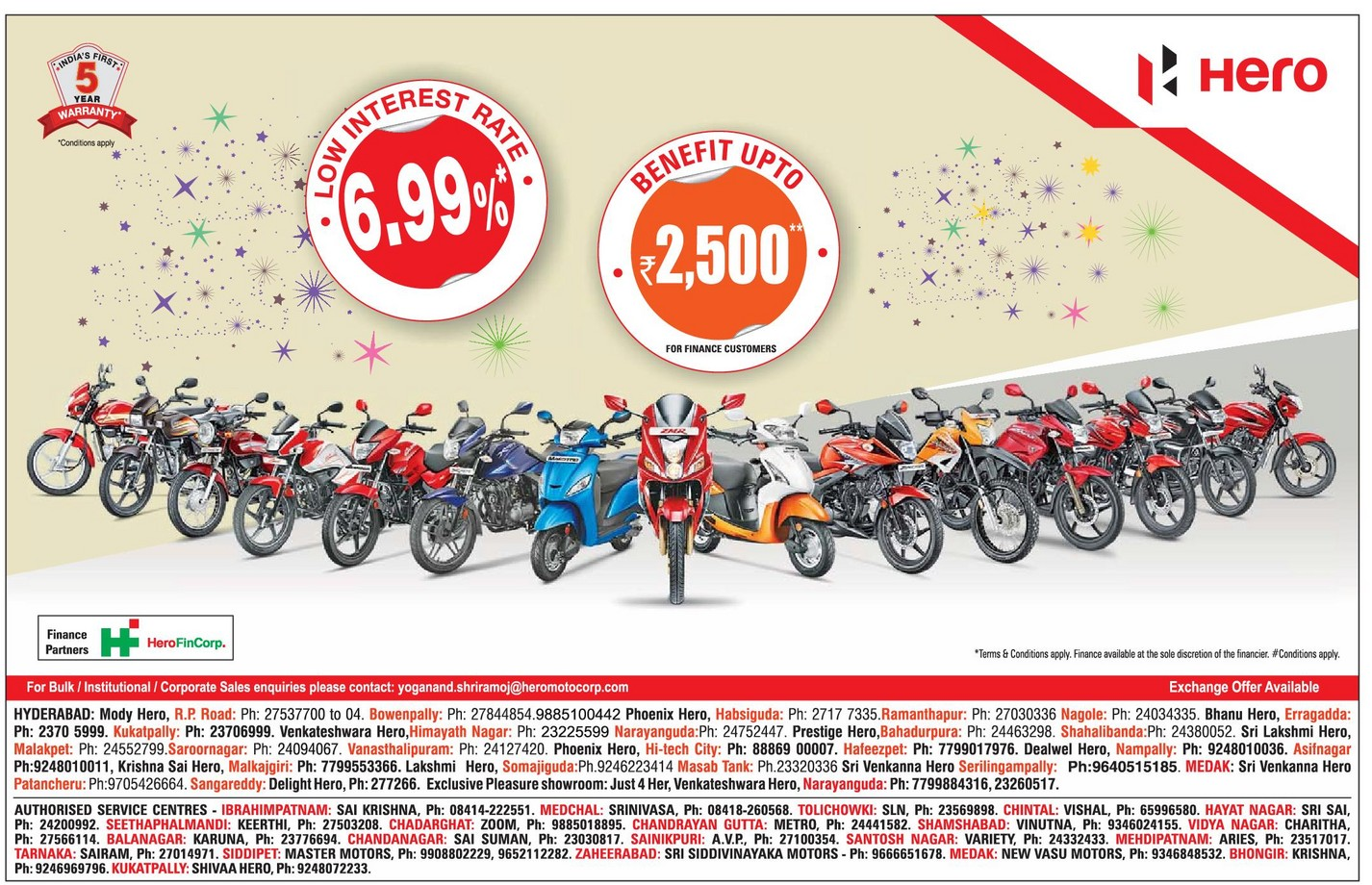 Lowest interest rate on Hero bike/scooters with amazing benefits | April 2016 discount offers | festive offers