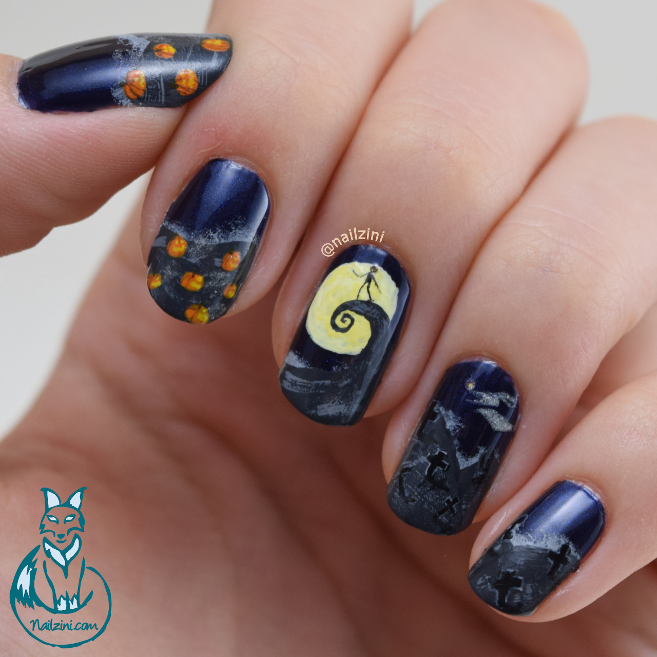 Nightmare Before Christmas Nail Art Tutorial