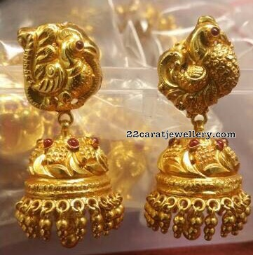 Antique and CZ stones Silver Jhumkas
