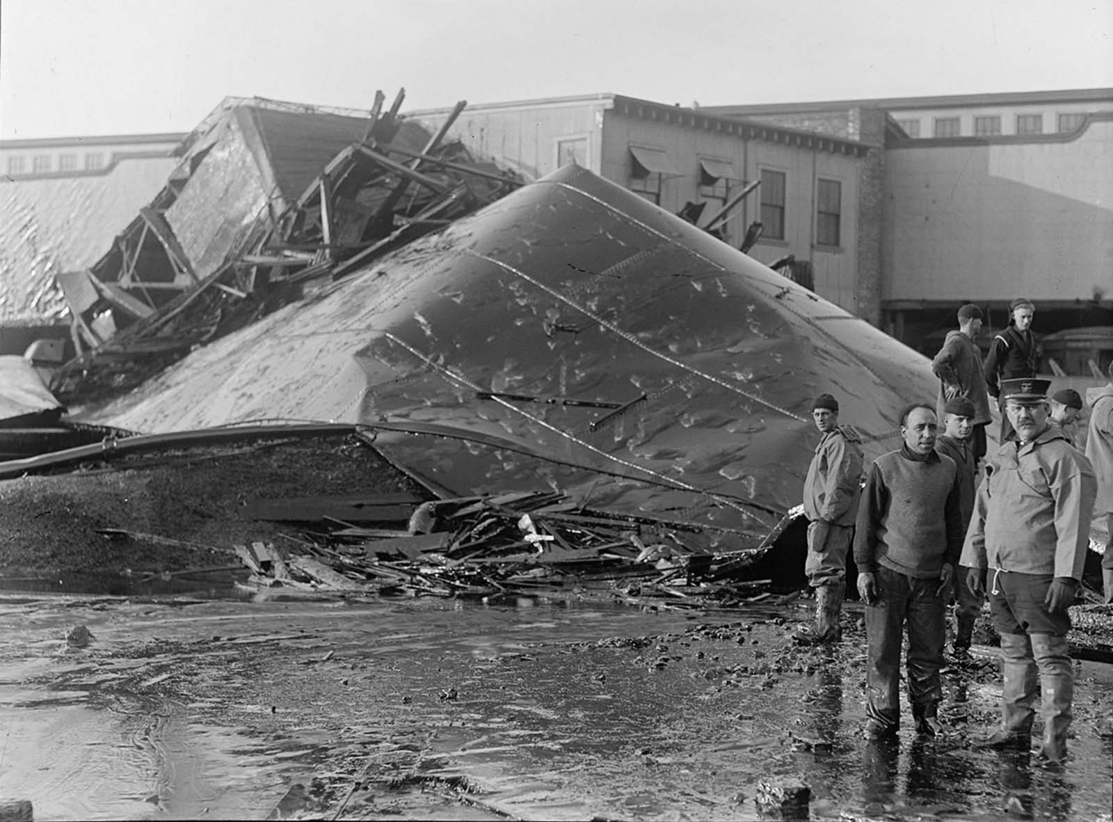 Section of tank after Molasses Disaster explosion at 1 p.m. on January 15, 1919.