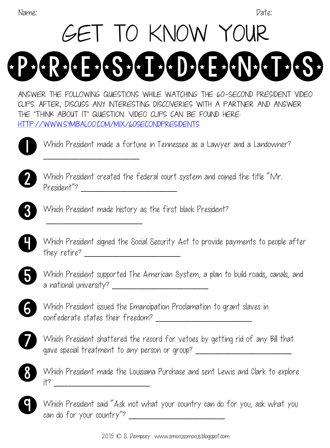 Smocus Smocus Hocus Pocus Presidents Day Activity