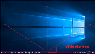 Gambar ilustrasi melakukan drag and drop taskbar di windows 10