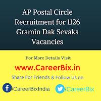 AP Postal Circle Recruitment for 1126 Gramin Dak Sevaks Vacancies